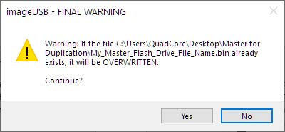 Click Yes to Create/Overwrite the File.
